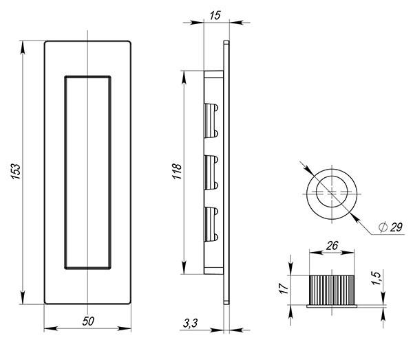 Ручка Armadillo для раздвижных дверей SH010 URB СР-8 Хром - фото 13416
