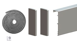 Aлюминевая маскировочная планка HERLUKES GLASS 2010мм, с заглушками, анод. серебро - фото 5464