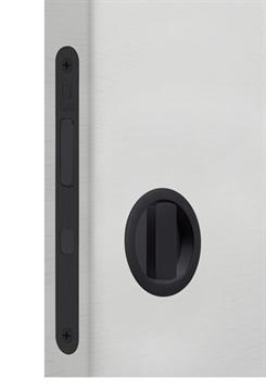 Замок для раздвижной двери G500T H21 Tondo комплект WC (Матовый черный)