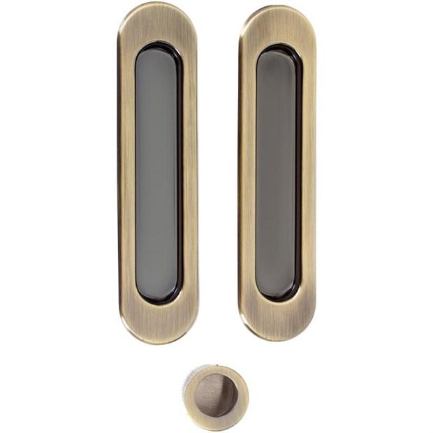 Комплект ручек для раздвижных дверей Armadillo SH010, бронза - фото 11975