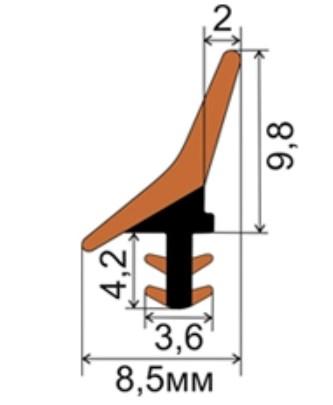 Уплотнитель для раздвижных дверей (пенал) - фото 13448