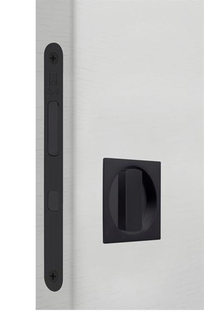 Замок для раздвижной двери G500T H21 Quadro комплект WC (Матовый черный) - фото 13516
