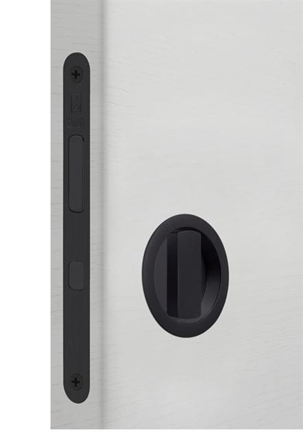 Замок для раздвижной двери G500T H21 Tondo комплект WC (Матовый черный) - фото 13518