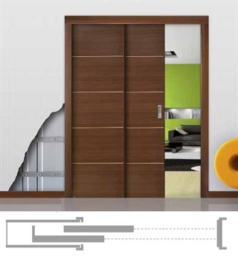 Пенал Open Space PARALELO Wood для двух дверей высотой 2000 мм.