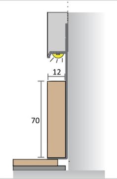 МДФ вставка в плинтус Pro Design 70 мм (Шпон по образцу заказчика)